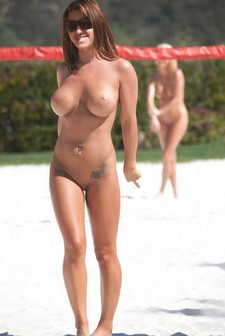 Naked beach volleyball.