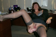Slutty secretary getting off with her huge dildo in the office